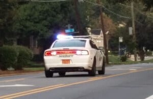 Sheriff's car with blue lights